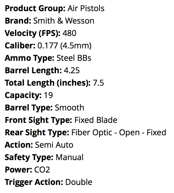 Smith & Wesson M&P Airgun Air Pistol - specifications