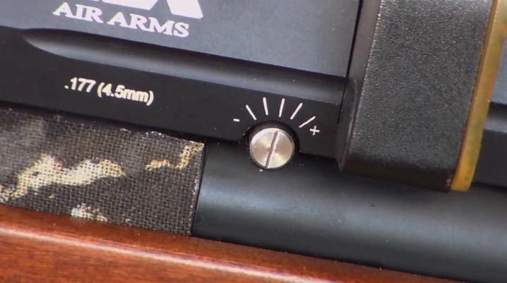 Air Arms S510 Xtra FAC PCP Air Rifle - power adjustment knob